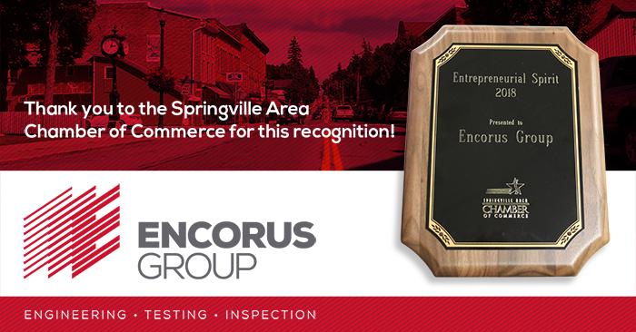 Springville Awards Encorus Group the Entreprenurial Spirit Award