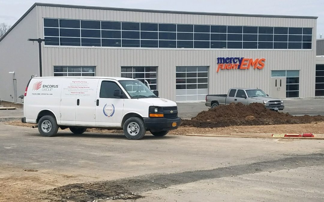 Encorus inspected concrete at the new Batavia, NY Mercy Flight facility