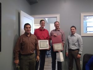 Tom Gilmartin and Evan Krug were recognized for 5 and 10 years with Encorus, respectively. Dana Pezzimenti and Joe Lowry presented their certificates.