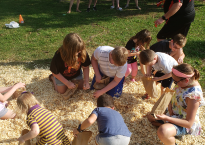 The treasure hunt game is always a big hit, with the kids hunting for candy, coins, and prizes.