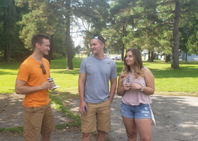 Electrical engineer Radomir Pupovac, mechanical engineer Jack Wolff and guest talk at the picnic.