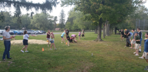 Encorus employees and their families competed in the water balloon toss